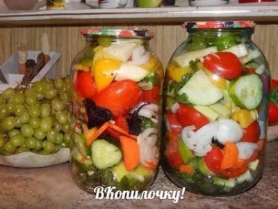 консервация ассорти помидоры огурцы кабачки и сладкий перец