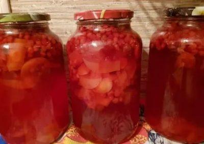 компот из брусники и яблок на зиму