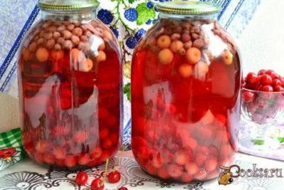 компот из вишни и клубники на зиму