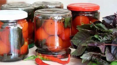 помидоры на зиму с базиликом