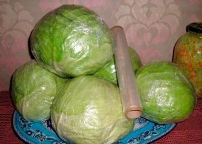 хранение капусты в пищевой пленке в погребе